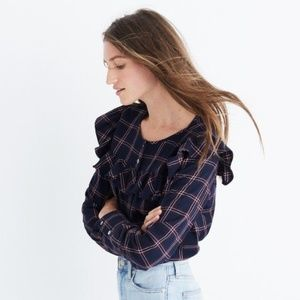 madewell ruffle plaid flannel blouse top nwt large
